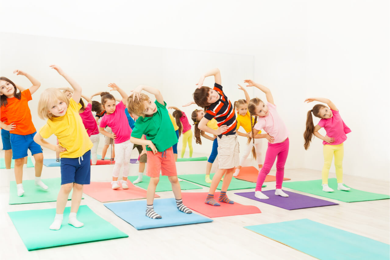 group of children exercising