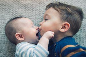 child around newborn