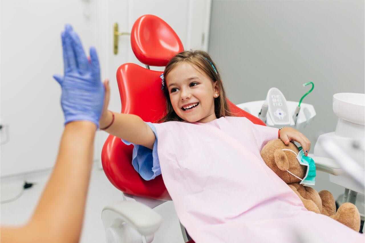 girl patient high-five