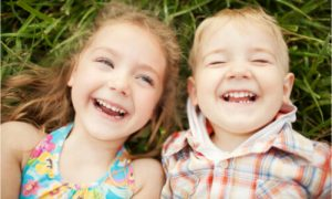 little boy and girl happy